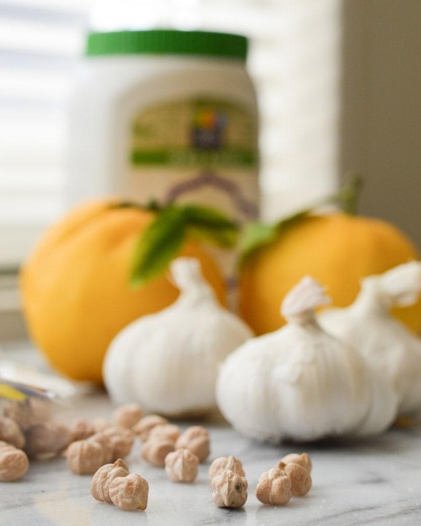 california style hummus with garlic and meyer lemon juice