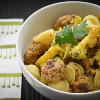 Moroccan Orecchiette with Cauliflower and Meatballs