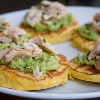Corn Cakes with Avocado & Smoked Trout