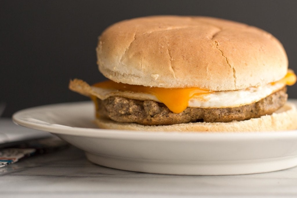 breakfast sandwich made with neat vegetarian meat substitute