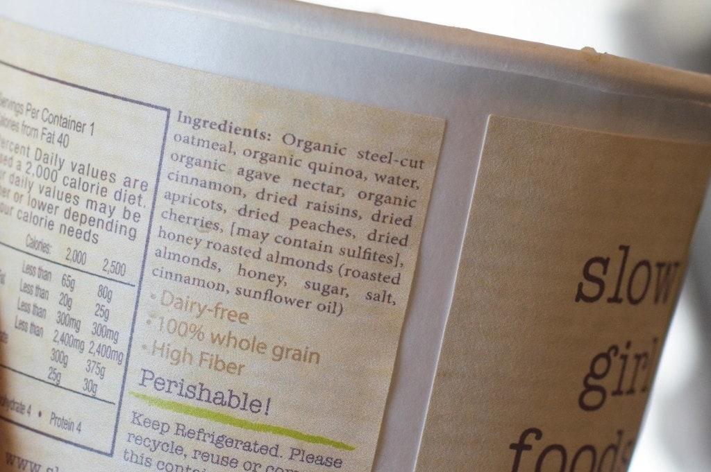 slow girl foods oatmeal ingredients