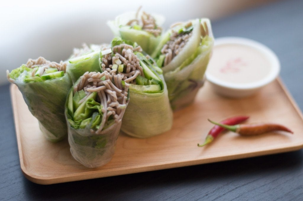 Soba Spring Rolls with Sesame Lime Sauce