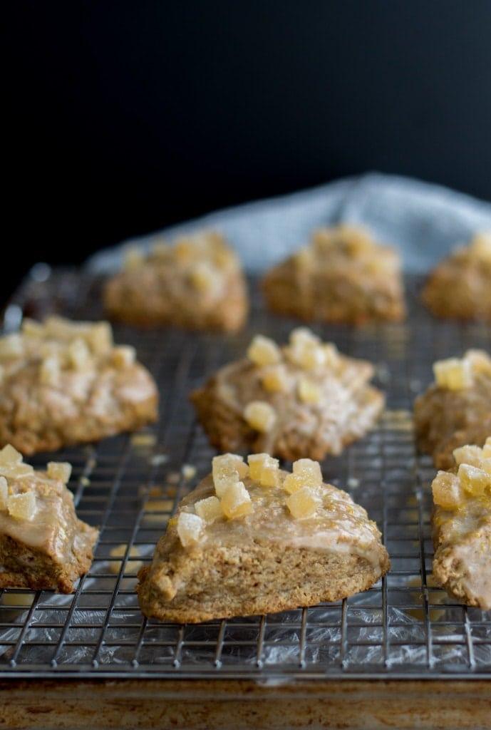 coconut scones with meyer lemon ginger glaze