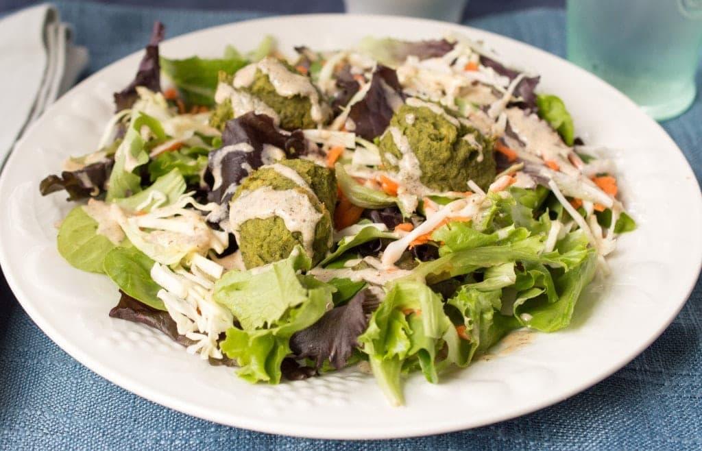 Baked Falafel Salad with Hummus Dressing