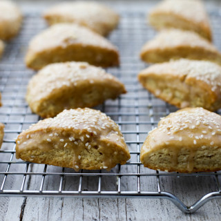 Sesame Scones with Tahini Glaze