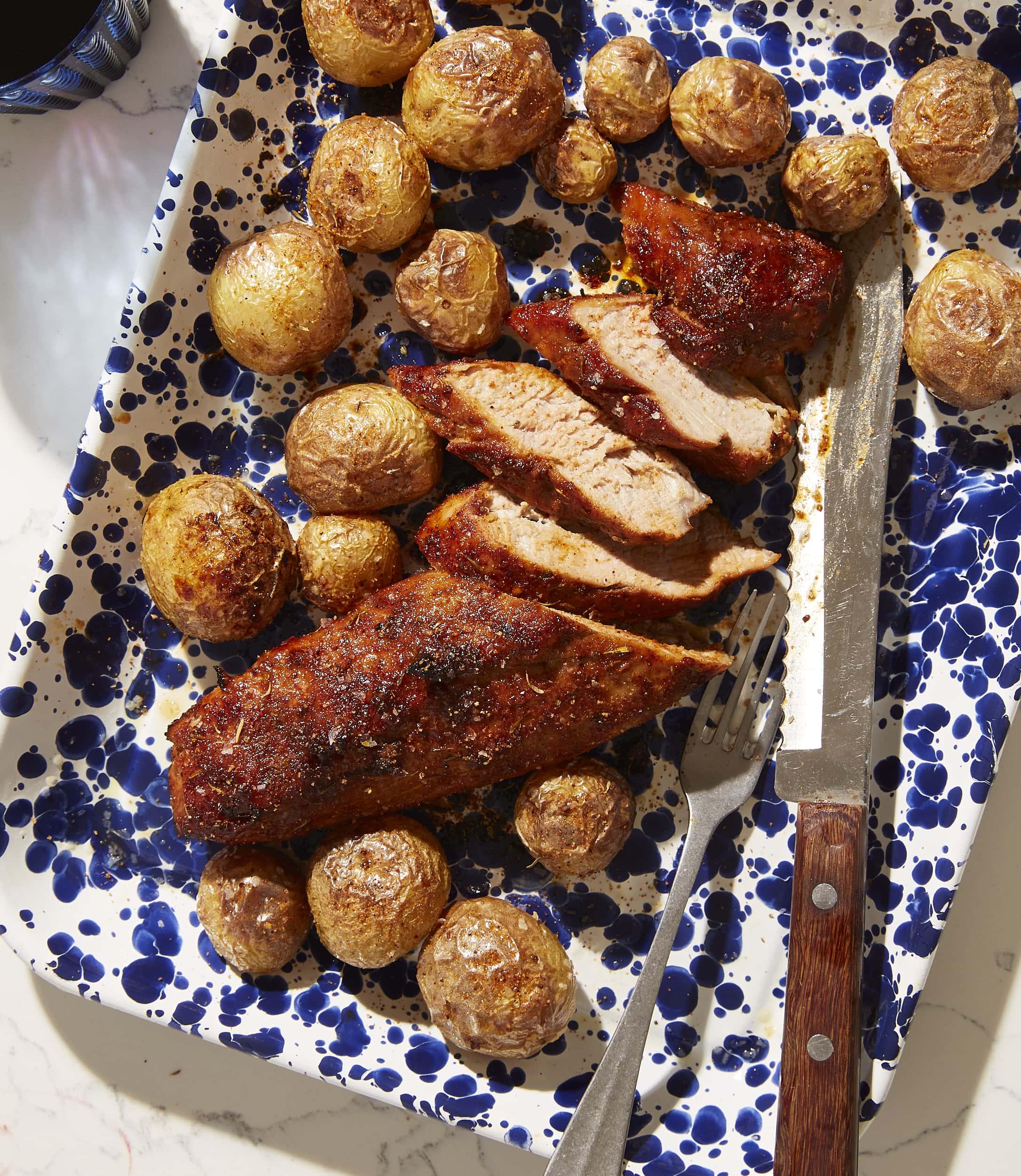 Rotisserie-Rubbed Pork Tenderloin and Potatoes